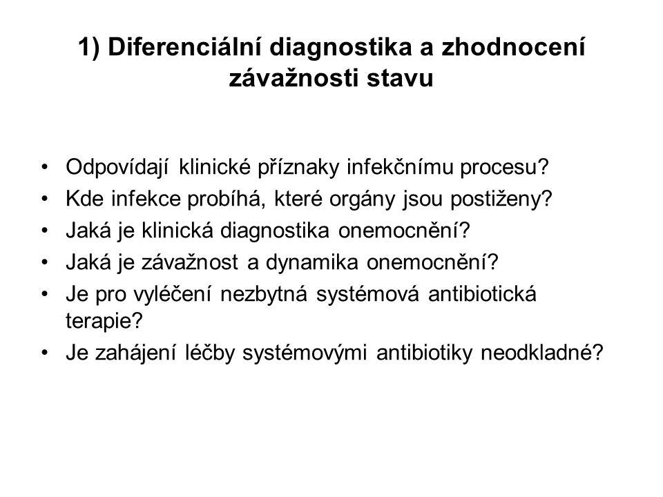 1) Diferenciální diagnostika a zhodnocení závažnosti stavu