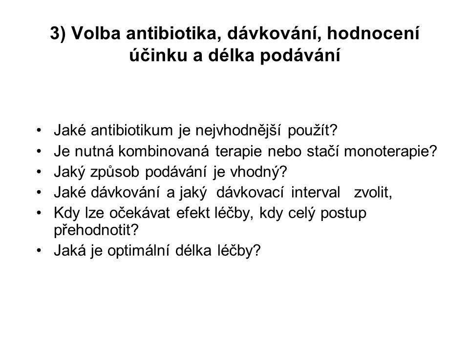 3) Volba antibiotika, dávkování, hodnocení účinku a délka podávání