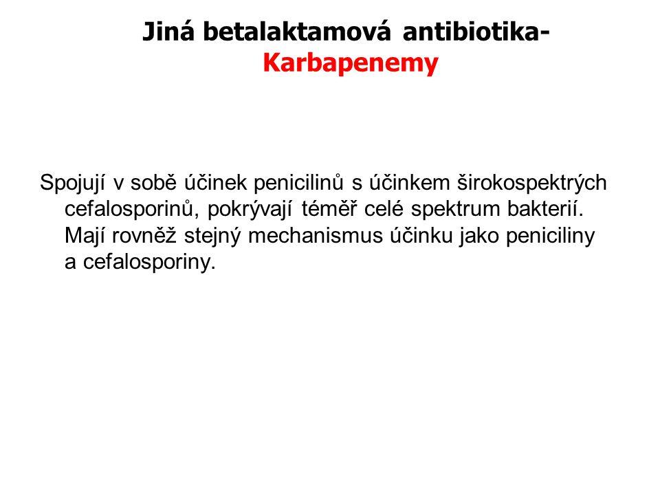 Jiná betalaktamová antibiotika- Karbapenemy