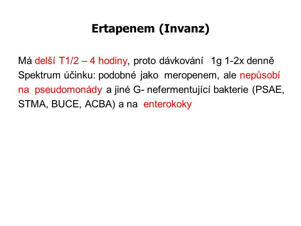 Ertapenem (Invanz) Má delší T1/2 – 4 hodiny, proto dávkování 1g 1-2x denně. Spektrum účinku: podobné jako meropenem, ale nepůsobí.