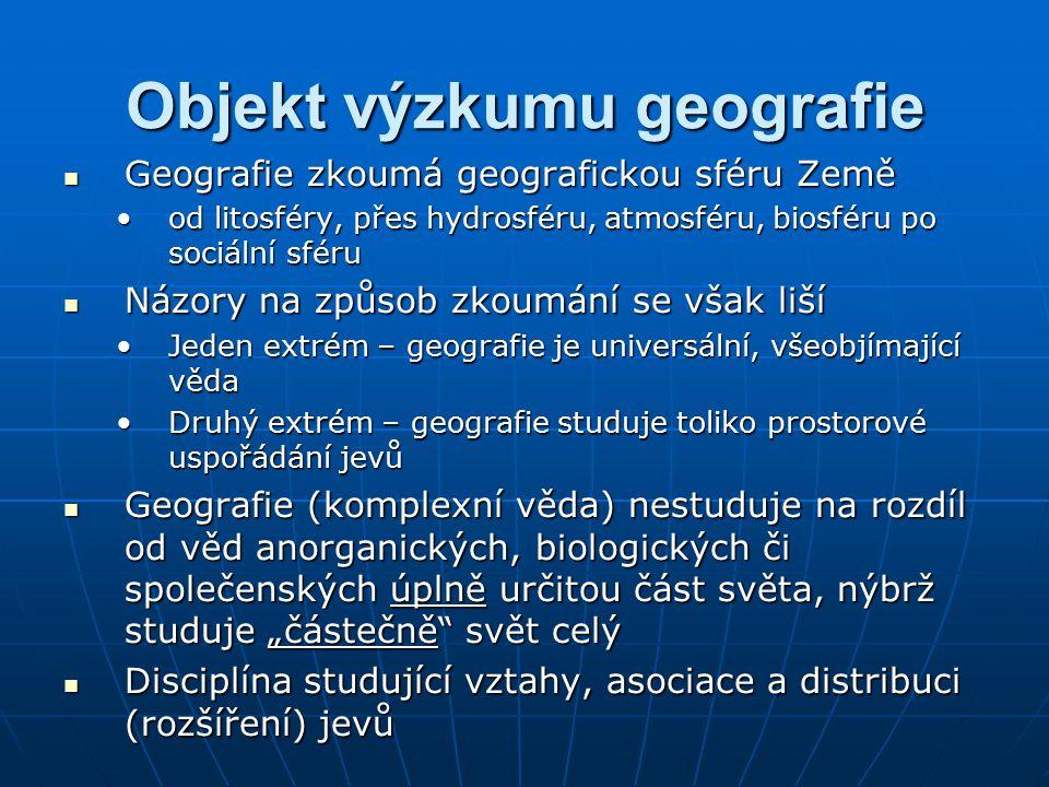 Objekt výzkumu geografie