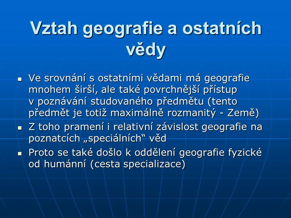 Vztah geografie a ostatních vědy