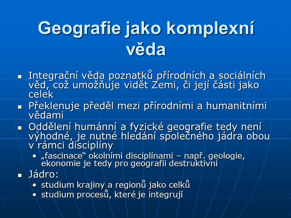 Geografie jako komplexní věda