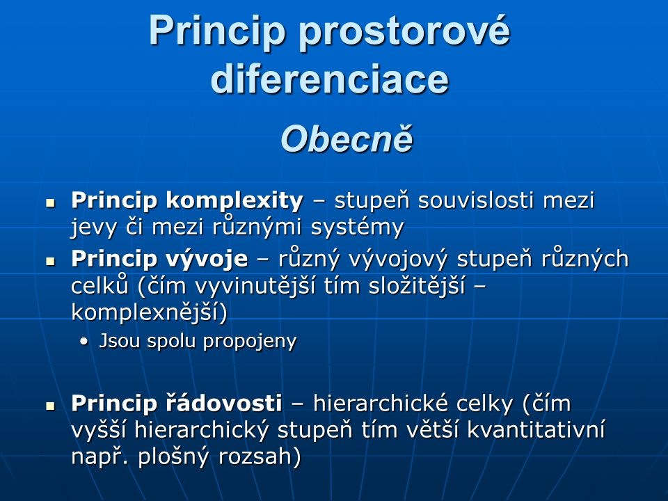 Princip prostorové diferenciace