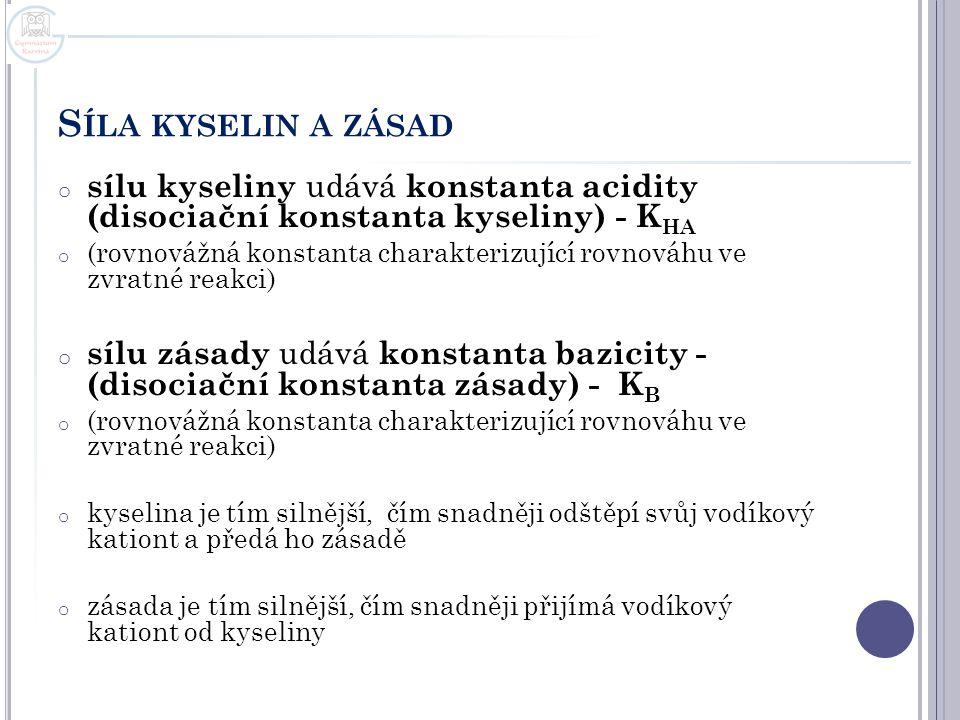 Síla kyselin a zásad sílu kyseliny udává konstanta acidity (disociační konstanta kyseliny) - KHA.