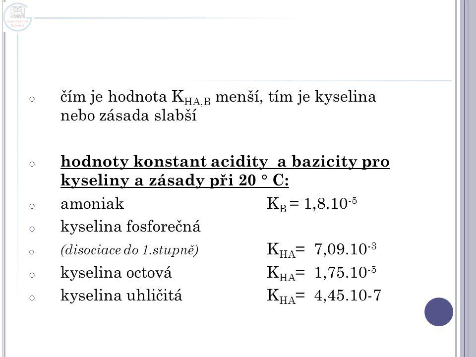 čím je hodnota KHA,B menší, tím je kyselina nebo zásada slabší