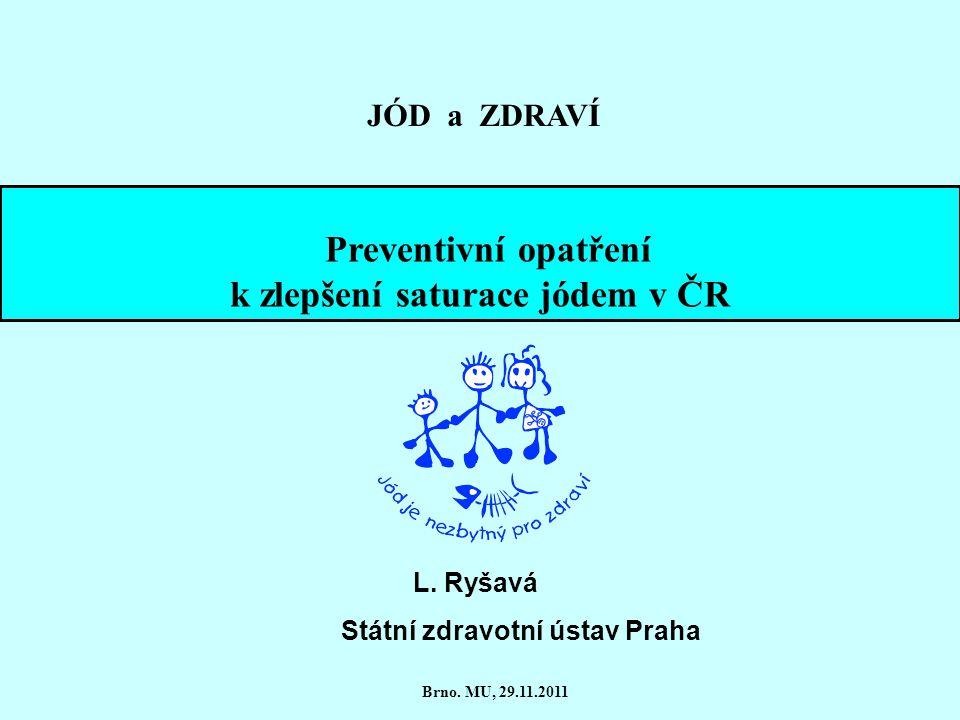 k zlepšení saturace jódem v ČR Státní zdravotní ústav Praha