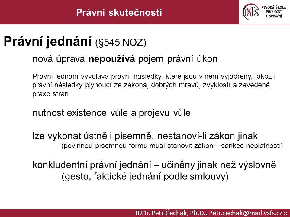 Právní jednání (§545 NOZ) Právní skutečnosti