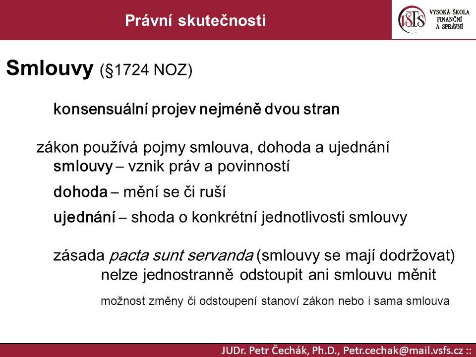 Smlouvy (§1724 NOZ) Právní skutečnosti