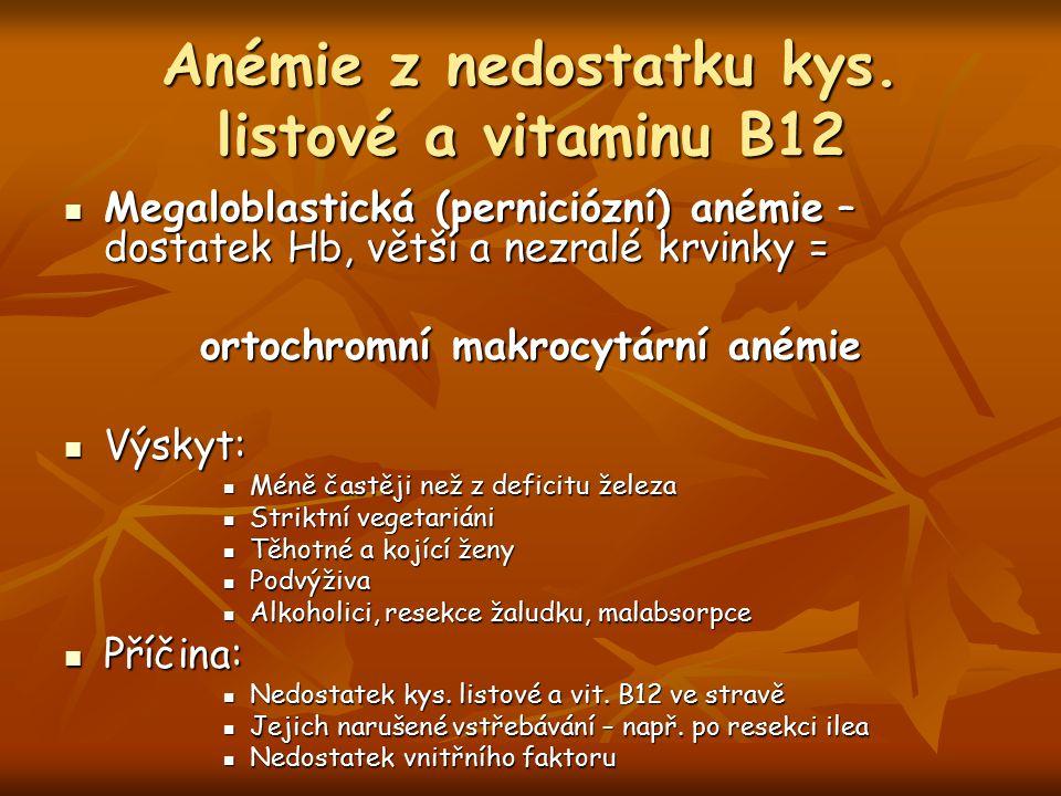 Anémie z nedostatku kys. listové a vitaminu B12