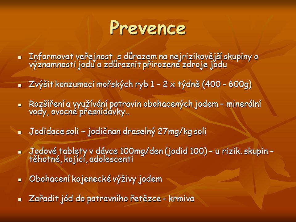Prevence Informovat veřejnost s důrazem na nejrizikovější skupiny o významnosti jodu a zdůraznit přirozené zdroje jodu.