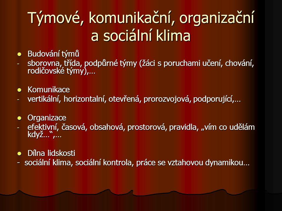 Týmové, komunikační, organizační a sociální klima