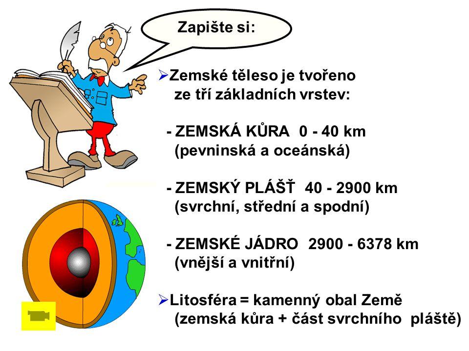 Zapište si: Zemské těleso je tvořeno. ze tří základních vrstev: - ZEMSKÁ KŮRA 0 - 40 km. (pevninská a oceánská)