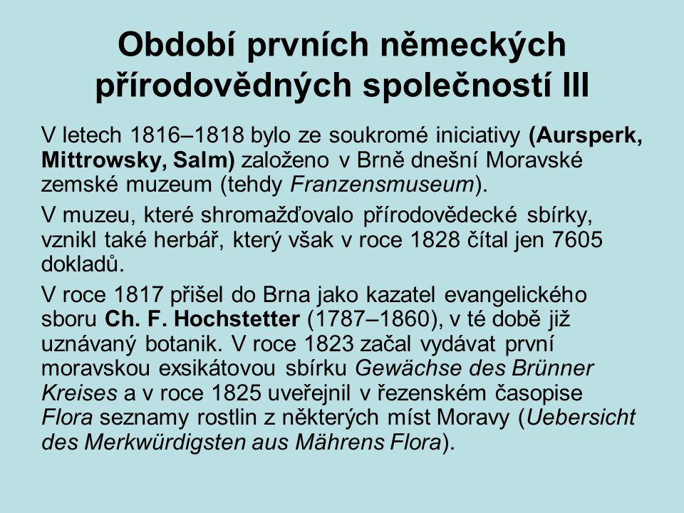 Období prvních německých přírodovědných společností III