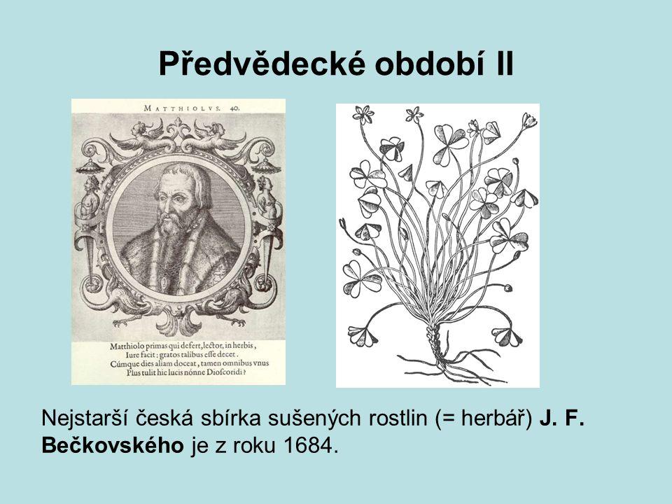 Předvědecké období II Nejstarší česká sbírka sušených rostlin (= herbář) J.