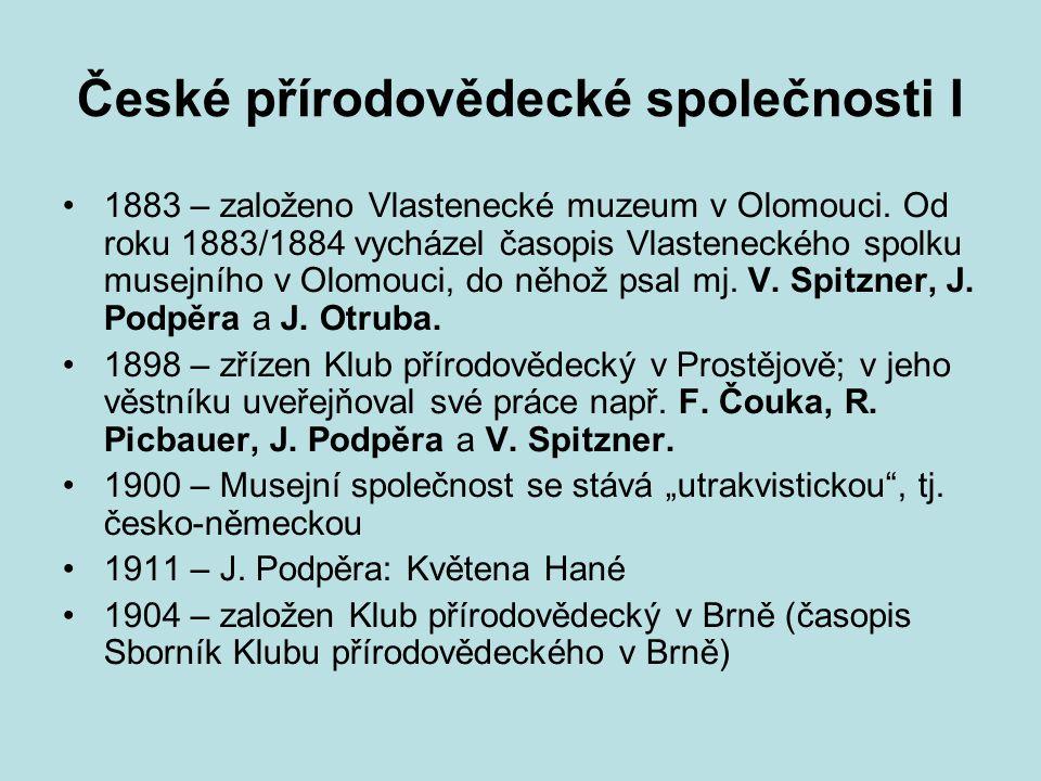 České přírodovědecké společnosti I