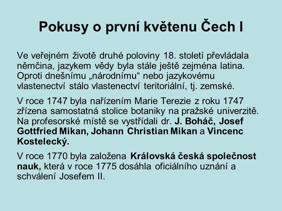 Pokusy o první květenu Čech I
