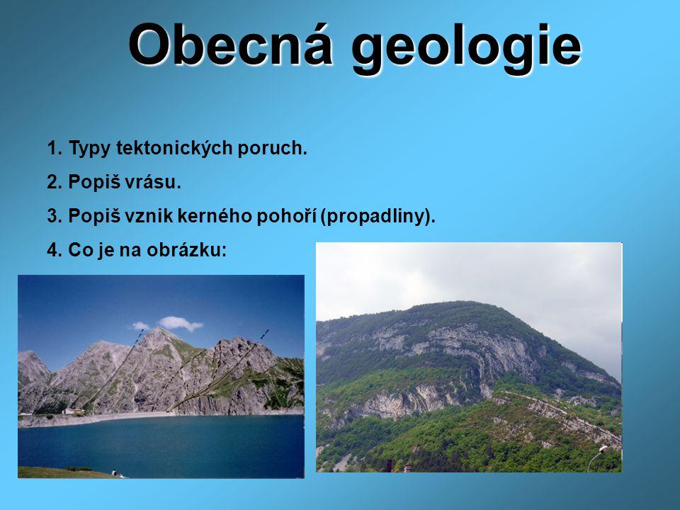 Obecná geologie 1. Typy tektonických poruch. 2. Popiš vrásu.