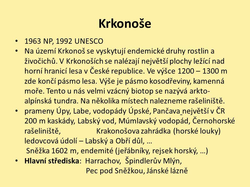 Krkonoše 1963 NP, 1992 UNESCO.