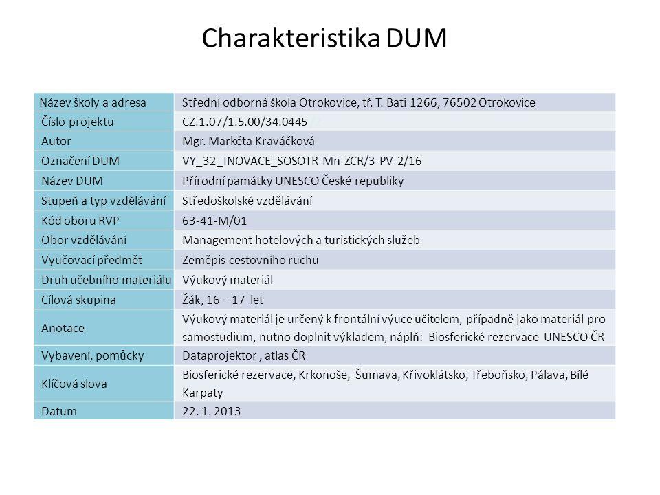 Charakteristika DUM Název školy a adresa