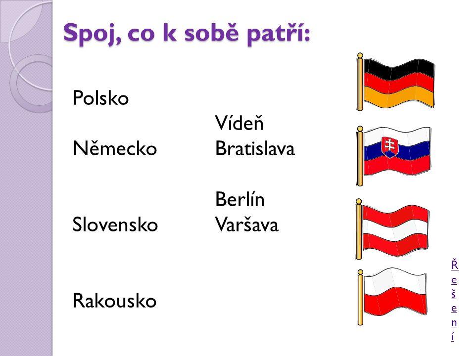 Spoj, co k sobě patří: Polsko Vídeň Německo Bratislava Berlín