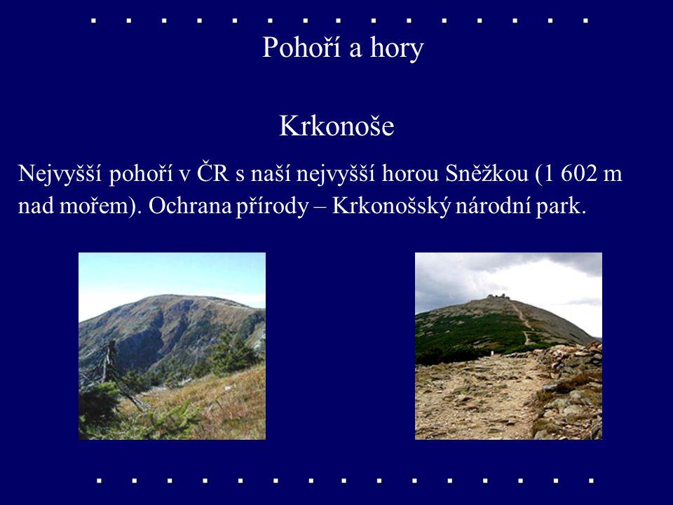 Pohoří a hory Krkonoše. Nejvyšší pohoří v ČR s naší nejvyšší horou Sněžkou (1 602 m.