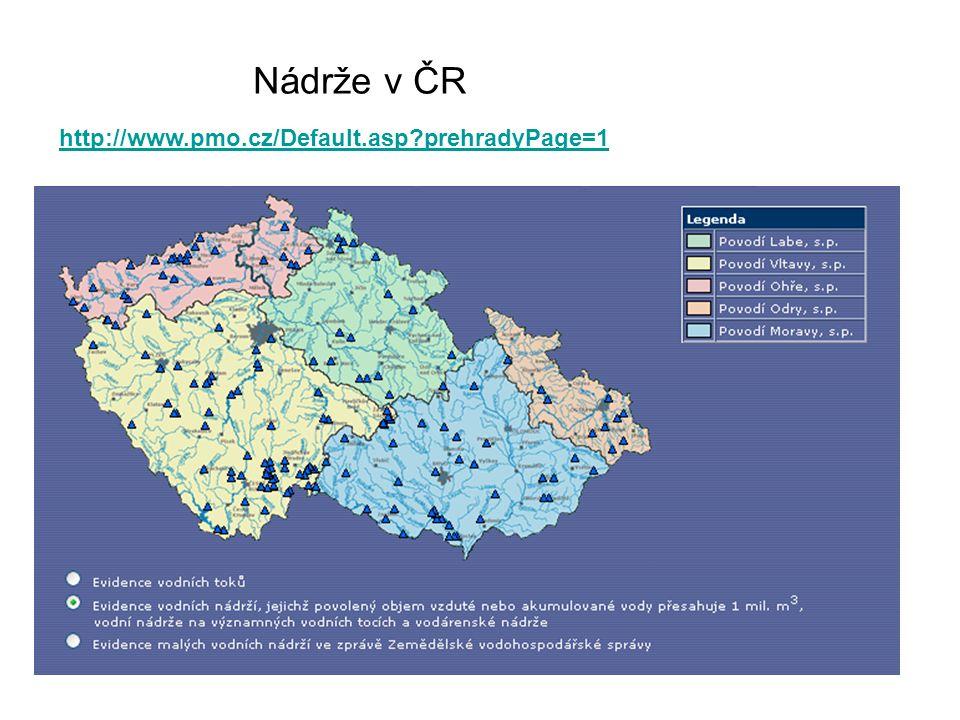 Nádrže v ČR http://www.pmo.cz/Default.asp prehradyPage=1