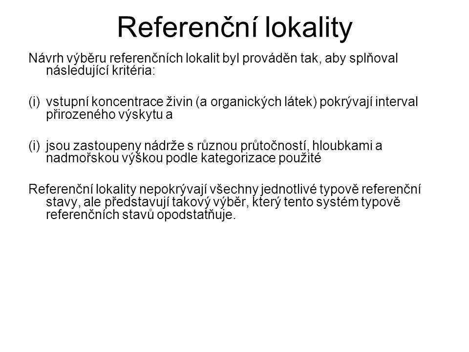 Referenční lokality Návrh výběru referenčních lokalit byl prováděn tak, aby splňoval následující kritéria: