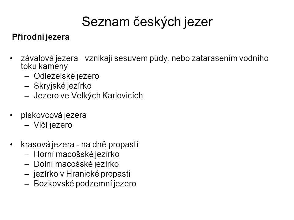 Seznam českých jezer Přírodní jezera
