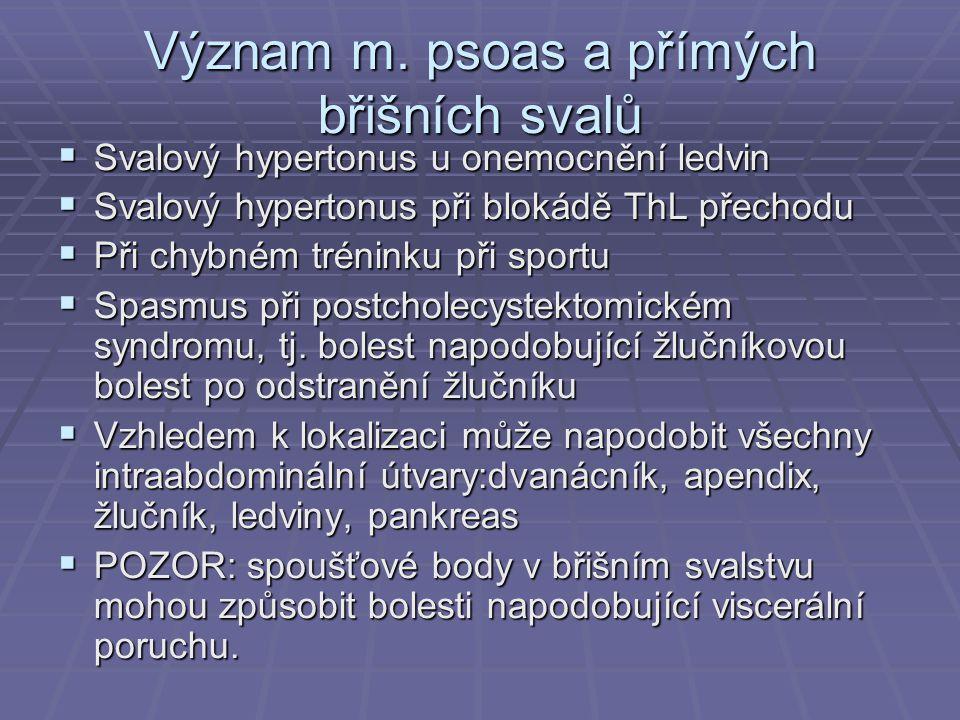 Význam m. psoas a přímých břišních svalů