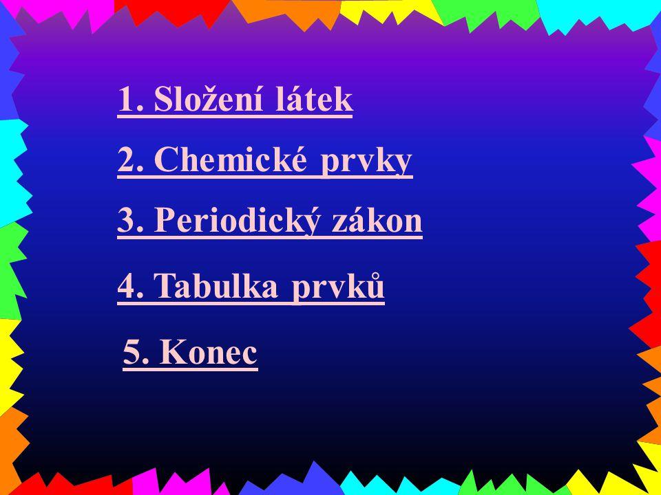 1. Složení látek 2. Chemické prvky 3. Periodický zákon 4. Tabulka prvků 5. Konec