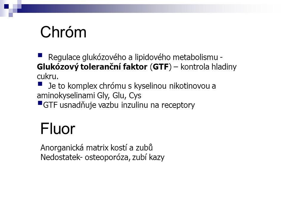 Chróm Fluor Regulace glukózového a lipidového metabolismu -