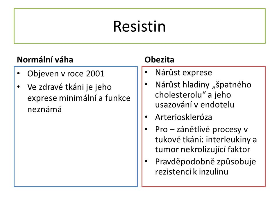 Resistin Normální váha Obezita Objeven v roce 2001