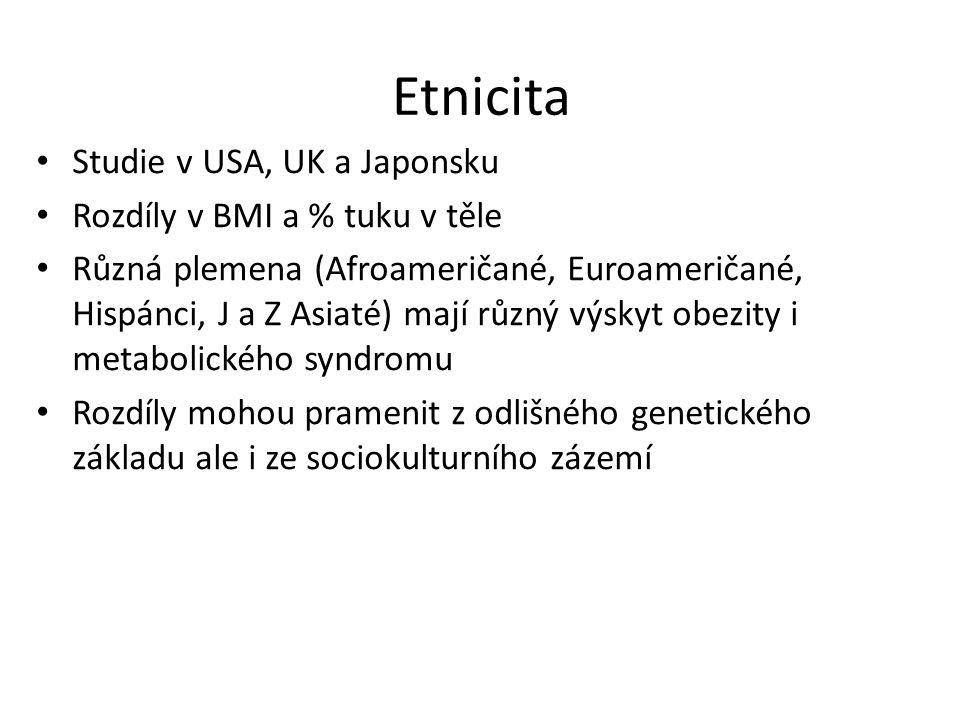Etnicita Studie v USA, UK a Japonsku Rozdíly v BMI a % tuku v těle