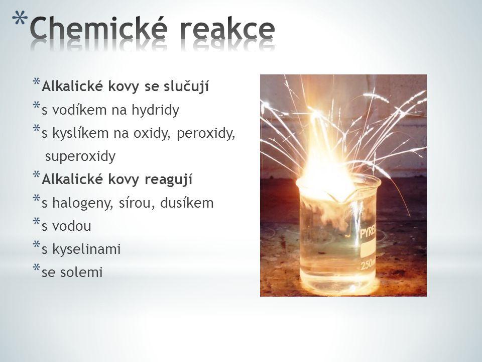 Chemické reakce Alkalické kovy se slučují s vodíkem na hydridy