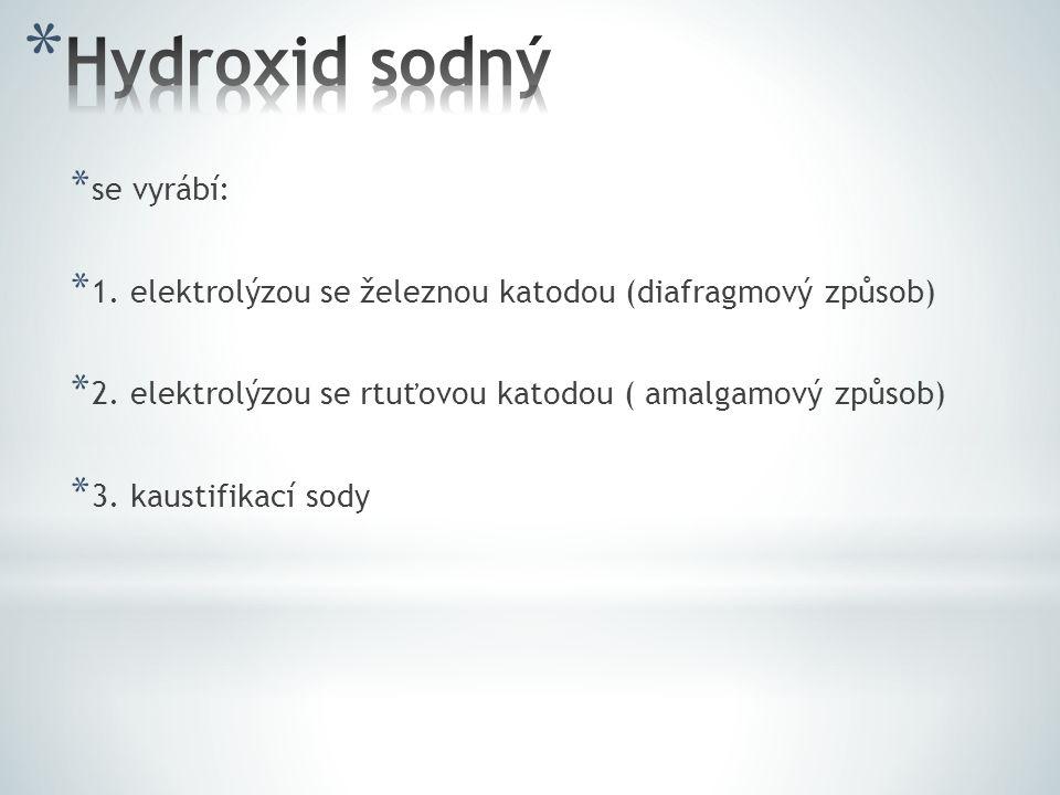 Hydroxid sodný se vyrábí: