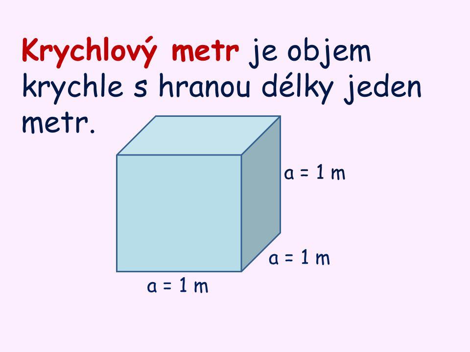 Krychlový metr je objem krychle s hranou délky jeden metr.