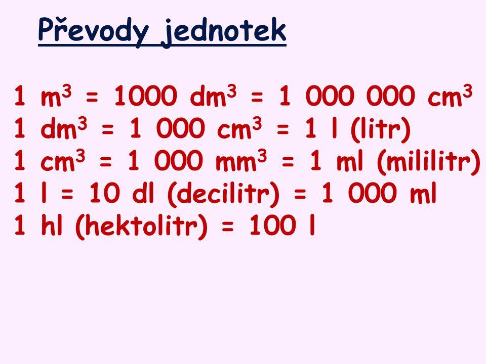 Převody jednotek 1 m3 = 1000 dm3 = 1 000 000 cm3