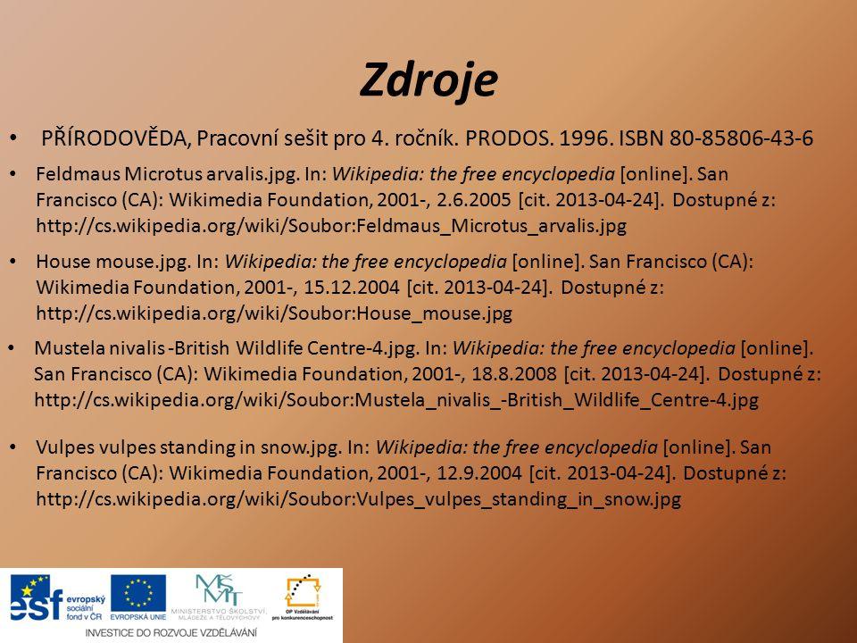 Zdroje PŘÍRODOVĚDA, Pracovní sešit pro 4. ročník. PRODOS. 1996. ISBN 80-85806-43-6.