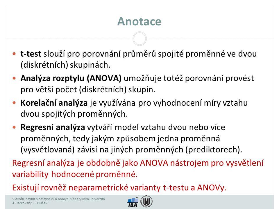 Anotace t-test slouží pro porovnání průměrů spojité proměnné ve dvou (diskrétních) skupinách.