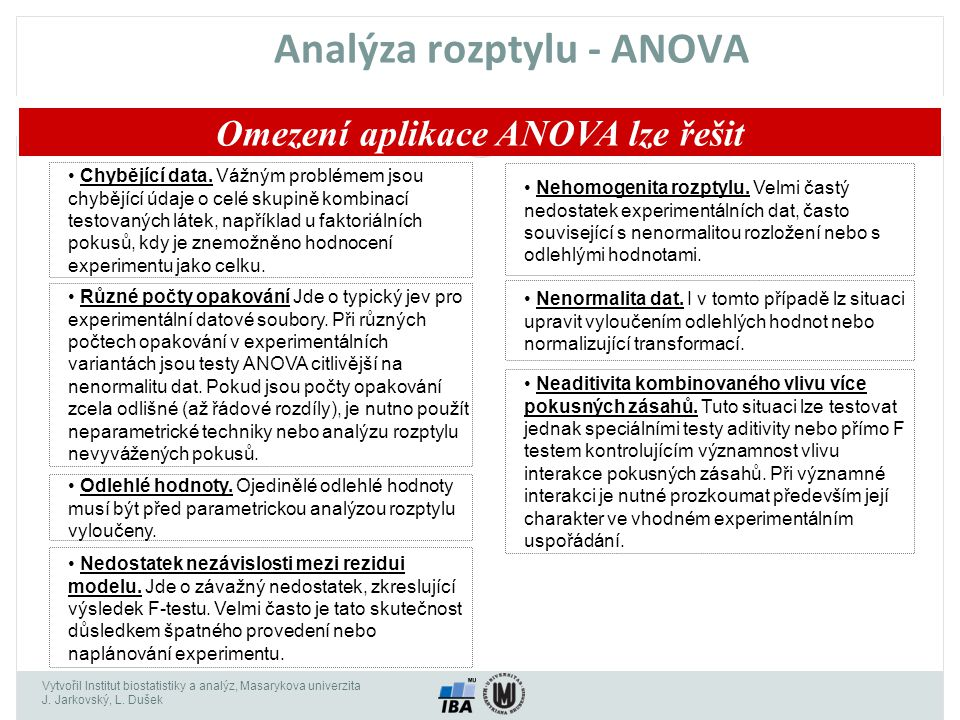 Analýza rozptylu - ANOVA