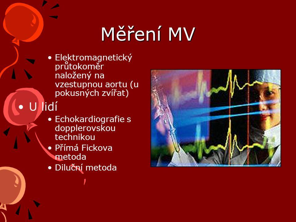 Měření MV Elektromagnetický průtokoměr naložený na vzestupnou aortu (u pokusných zvířat) U lidí. Echokardiografie s dopplerovskou technikou.