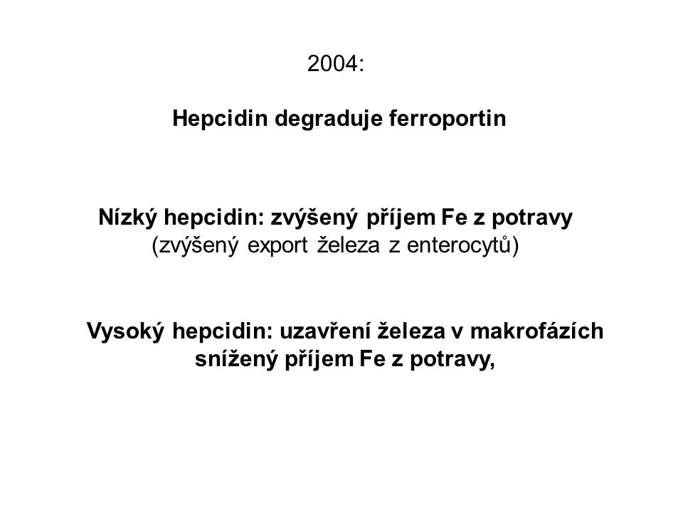 Hepcidin degraduje ferroportin