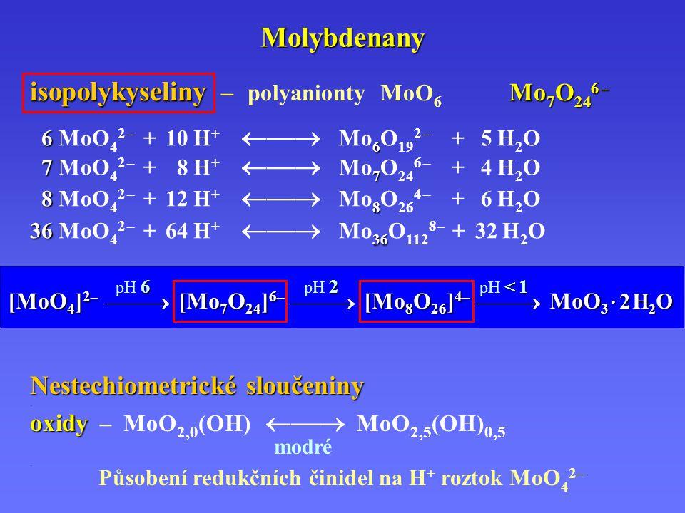 Molybdenany isopolykyseliny – polyanionty MoO6 Mo7O246 –