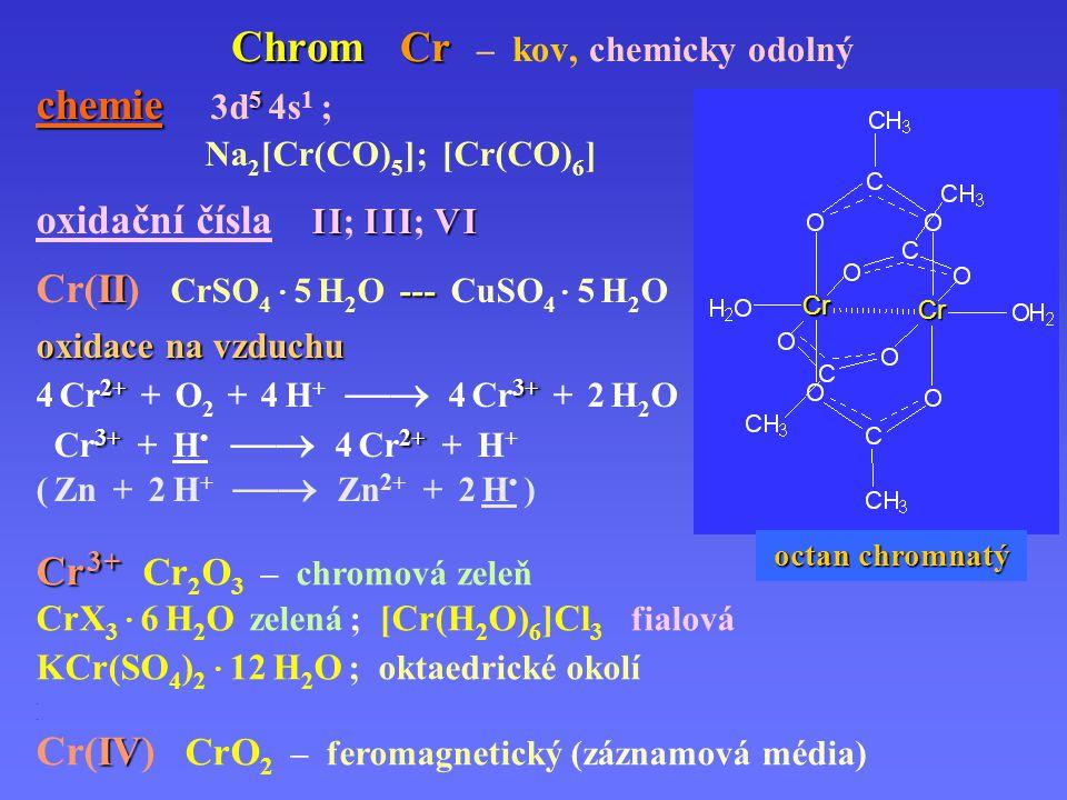 Chrom Cr – kov, chemicky odolný