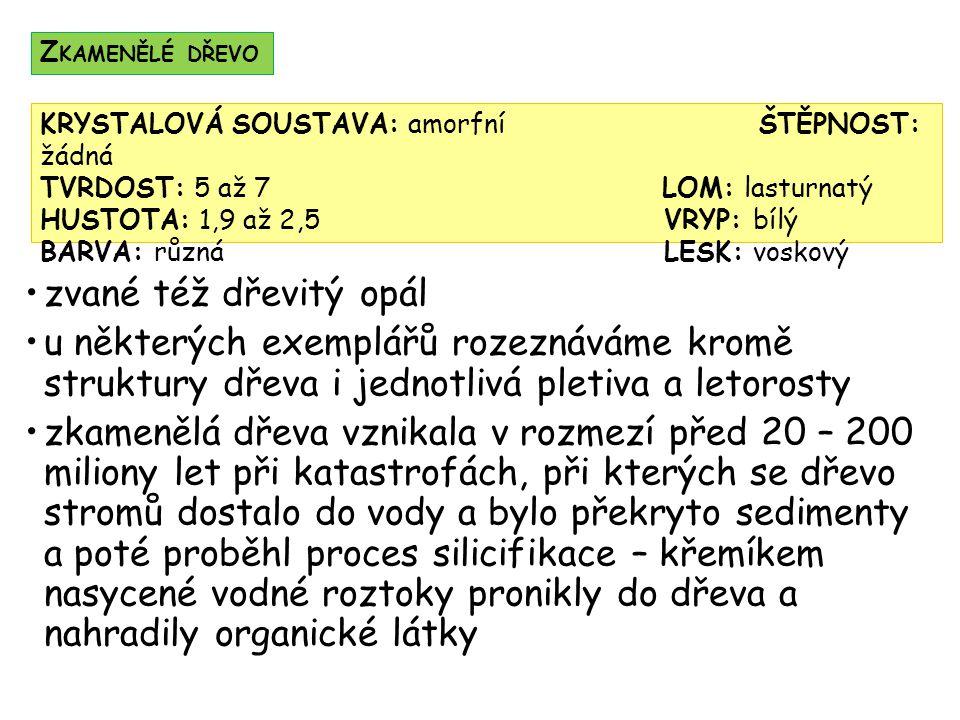 Zkamenělé dřevo KRYSTALOVÁ SOUSTAVA: amorfní ŠTĚPNOST: žádná. TVRDOST: 5 až 7 LOM: lasturnatý.