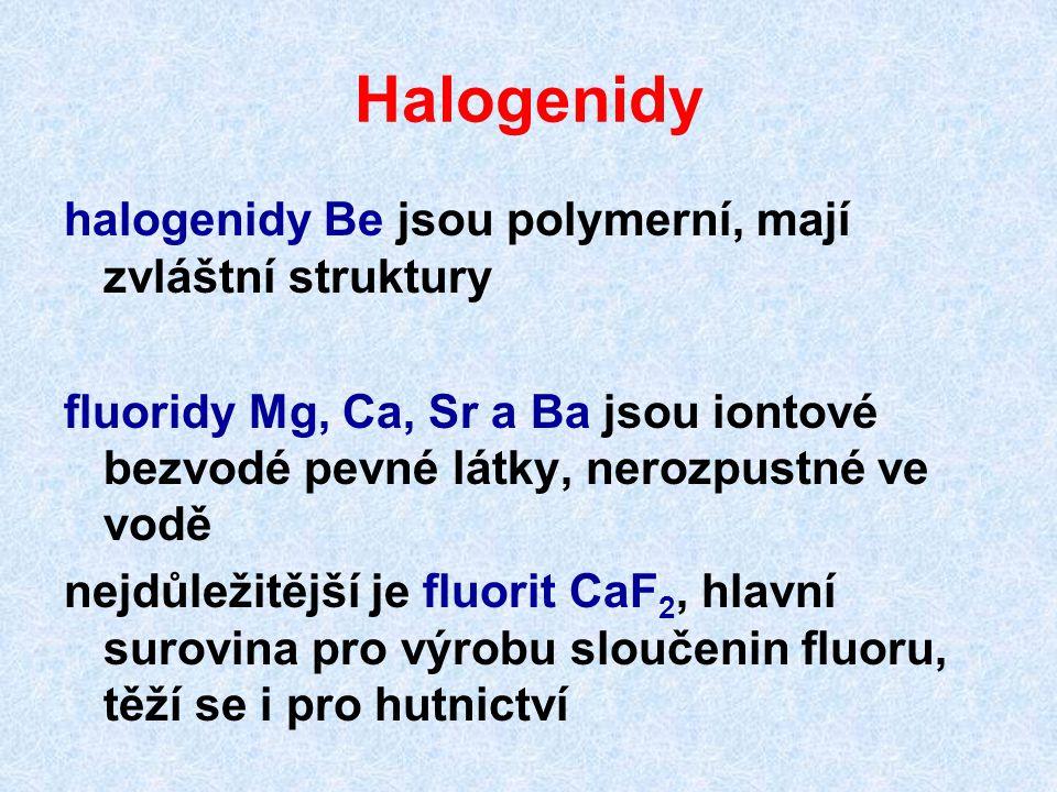 Halogenidy halogenidy Be jsou polymerní, mají zvláštní struktury
