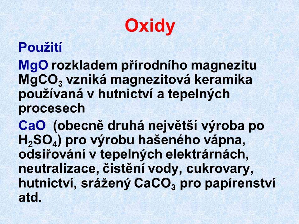 Oxidy Použití. MgO rozkladem přírodního magnezitu MgCO3 vzniká magnezitová keramika používaná v hutnictví a tepelných procesech.
