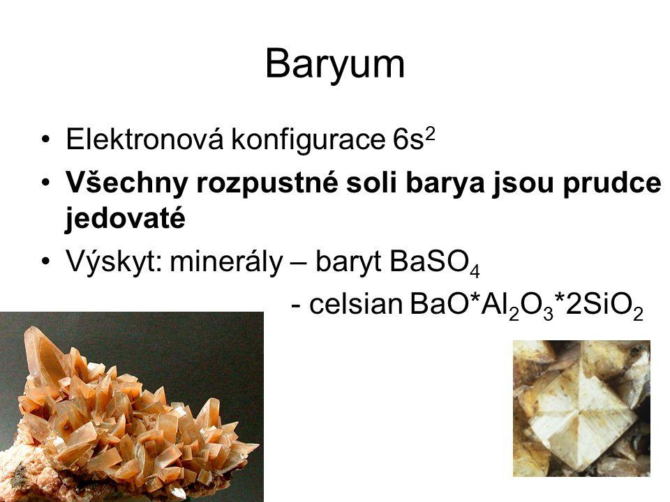 Baryum Elektronová konfigurace 6s2