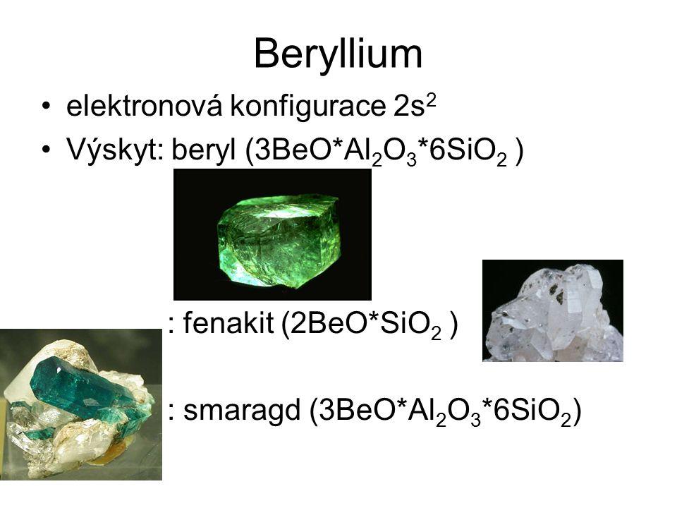 Beryllium elektronová konfigurace 2s2